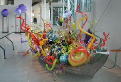 Dale Chihuly  Boat installation, 2002  on display October 12, 2002 Thru April 6, 2003  Hamilton, New Jersey.