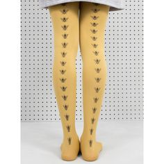 Mustard Bee Tights ($23) ❤ liked on Polyvore featuring intimates, hosiery, tights, nylon tights, nylon pantyhose, nylon stockings, mustard tights and bee tights