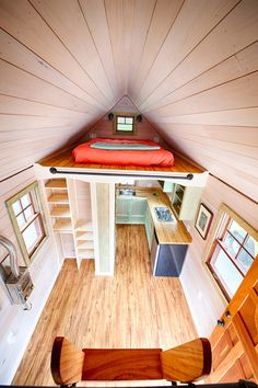 Aerial view of this 115 sq.ft. tiny house. The house was based on Jay Shafer's design and built by Wishbone Tiny Homes.