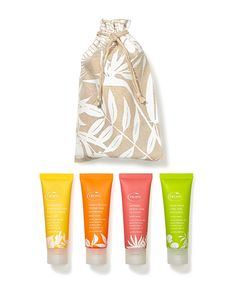 Indulge in the zesty, exotic fragrances of your favourite body washes on the go with this travel-sized collection, complete with an organic cotton bag. Guava Leaves, Sweet Almond Oil, Cotton Bag, Skin So Soft, Uk Shop, Body Wash, Travel Size Products