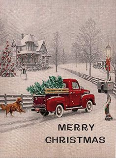 Selmad Decorative Merry Christmas Garden Flag Red Truck Double Sided, Rustic Quote House Yard Flag Xmas Pickup, Winter Holiday Dog Yard Decorations, Home Golden Retriever Seasonal Outdoor Flag 12 x 18