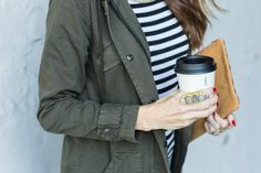A Fall Outfit Pairing, The Army Green Outfit and Stripes by Art in the Find, army-green-jacket, army-green-jacket-outfit, stripe-top-and-army-green-jacket,
