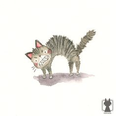 Big and scary cat - mini digital print 4 x 4 - cute cat illustration - tabby cat art. $7.00, via Etsy.