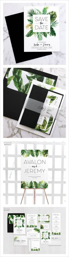 Modern Tropical Wedding Invitation Suite   Tropical Welcome Sign   Palm Leaf   Monstera Leaf   Tropical Save the Date   Wedding Stationery