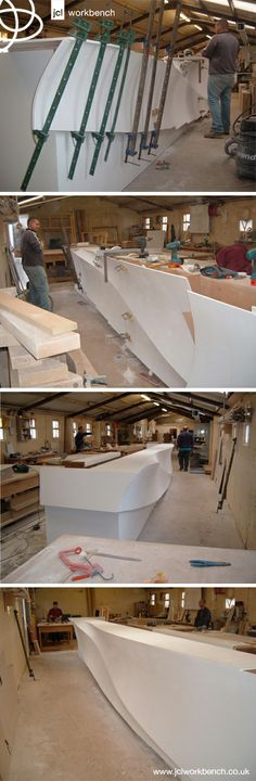 #solidsurface #corian Our Corian approved UK workshop in action. Bespoke reception desk. #jclworkbench