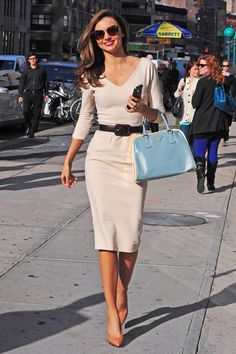 My First Little Place: A Fashionable Wednesday. Cute modest dress on Miranda Kerr.