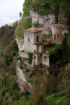 Pepoli Castle - Erice, Sicily. -- Built during Arabic times on the side of a cliff overlooking the Tyrrhenian Sea, the castle now, it is now a hotel.