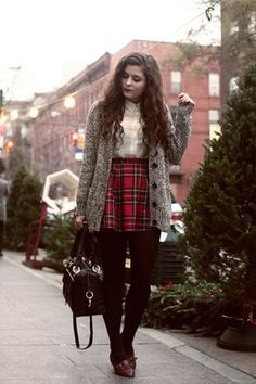 Yes, Festive Outfits Can Be Chic! Steal These Comfy-Cute Styling Tips, ehh i guess I really liked the plaid skirt ahah CX