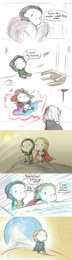 """SO cute but that second one with Loki sitting alone in his cell saying """"I want my mumma"""", too soon. Too soon. T.T"""