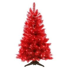 4 ft. Pre-Lit Translucent Ruby Red Artificial Christmas Tree - Clear Lights