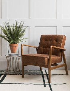 Mid-Century Button-and-Stud Brown Leather Armchair at Rose & Grey. Buy online now from Rose & Grey, eclectic home accessories and stylish furniture for vintage and modern living My Living Room, Living Room Chairs, Living Room Furniture, Living Room Decor, Furniture Chairs, Dining Chairs, Furniture Movers, Arm Chairs, Lounge Chairs