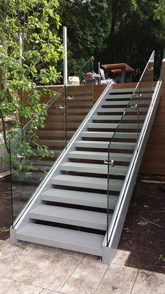 stainless steel glass rail fabricated and installed by Custom iron Craft out of Wilmington/Tewksbury Ma. Handicap Ramps, Garden Steps, Balcony Railing, Fence Gate, Garden Design, Stairs, Iron, Stainless Steel, Patio
