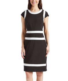 18.49 Look what I found on #zulily! PIERRI Black & White Sheath Dress by PIERRI #zulilyfinds