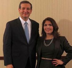 """Evelyn Sanguinetti claims she is a friend of """"immigration,"""" be she hangs out with the enemy of """"immigration,"""" Senator Ted Cruz. Just another good reason to support Governor Pat Quinn, and not Bruce Rauner."""