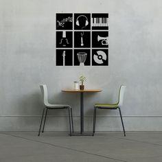 Stencil Wall Art, Vinyl Wall Decals, Stencils, Guitar Wall, Music Wall, Decorate Your Room, Custom Vinyl, Wall Treatments, Vinyl Designs