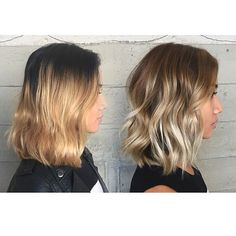 The second picture gives her hair so much more dimension than the flat ombré in the first picture...