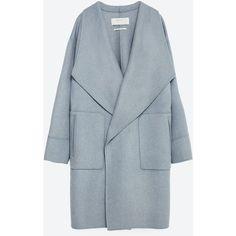 Zara Hand Made Wool Coat ($169) ❤ liked on Polyvore featuring outerwear, coats, jackets, zara, veste, sky blue, zara coat, woolen coat, blue coat and blue wool coat