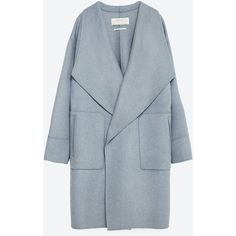 Zara Hand Made Wool Coat (225 CAD) ❤ liked on Polyvore featuring outerwear, coats, jackets, zara, coats & jackets, sky blue, wool coat, zara coat, blue wool coat and blue coat