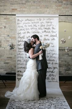handwritten poems as #wedding backdrop, I think this is a really cute idea, it could even be song lyrics, or your vows