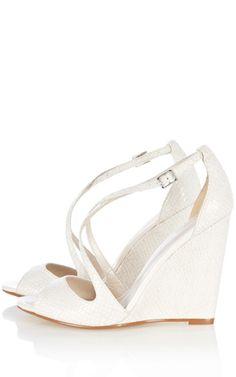 Bella Bells Ivory Lace Chiffon Wedge Wedding Shoes White Bridal Wedges Garden Beach