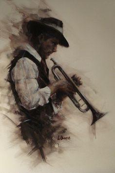 """Round Midnight (Jazz )"" Remi LaBarre #musician #figurative #paint"