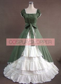 eee0da9d0b Green And White Short Sleeves Floral Double-Layer Lolita Prom Dress. Gothic Victorian  DressesGothic ...