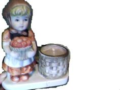 Cute little figurine, very Hummel-like, is holding a basket of apples and has a basket beside her, a few paint splotches but no major damage Porcelain Dolls For Sale, The Ordinary, Apples, Candle Holders, Basket, Paint, Picture Walls, Porta Velas, Paintings