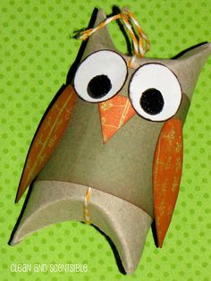 owls made out of toilet roll tubes - use red pink white for v day