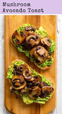 Mushroom Avocado Toast - This simple and flavorful vegan avocado toast is topped with warm skillet mushrooms and has a mildly garlic flavor. Mushroom Avocado Toast is perfect for brunch! Vegan Breakfast Recipes, Vegetarian Recipes, Cooking Recipes, Vegan Avocado Recipes, Cooking Ideas, Health Food Recipes, Avocado Toast Recipe Vegan, Vegetarian Brunch, Brunch Food