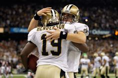 Devery Henderson and Drew Brees Photo - Record Breaking Pass!