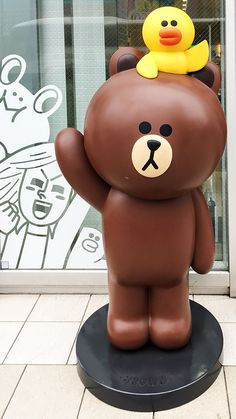 Brown Waving at the LINE Friends Store in Harajuku, Tokyo, Japan Seoul Korea Travel, Tokyo Travel, Cony Brown, Brown Bear, Line Friends, Kpop Fanart, Japanese Culture, Art Dolls, Iphone Wallpaper