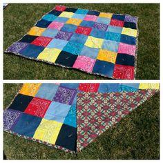 Bandana and denim picnic blanket.  April 2016.