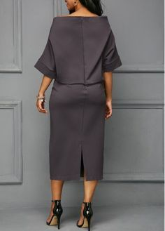 Back Slit Boat Neck Batwing Sleeve Dress Elegant Dresses, Beautiful Dresses, Casual Dresses, Komplette Outfits, Fashion Outfits, Womens Fashion, African Fashion Dresses, African Dress, Boat Neck Dress