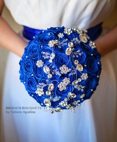 FULL PRICE 8'' Blue and Silver crystal brooch by MagnoliaHandmade
