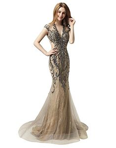 Sarahbridal Women s V-Neck Cap Sleeve Prom Ball Dresses Long Beaded  Rhinestones Lace Tulle Evening Gowns Mocha f2aaeca10