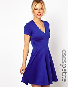 ASOS PETITE Exclusive Skater Dress With V Neck