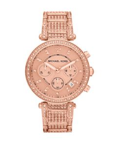 Michael Kors Mid-Size Rose Golden Stainless Steel Parker Chronograph Glitz Watch.