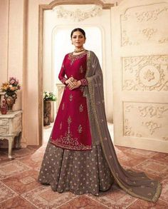 This designer lehenga style suit is fabricated on fancy fabric and beautified with fancy embroidery work. Lehenga Suit, Lehenga Style, Lehenga Choli, Bridal Lehenga, Designer Wear, Indian Wear, Salwar Kameez, Party Wear, Indian Fashion