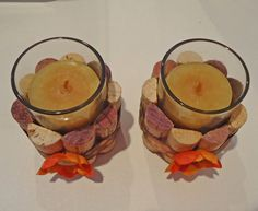 Upcycled Wine Cork Votive Candle holders (Flowers)