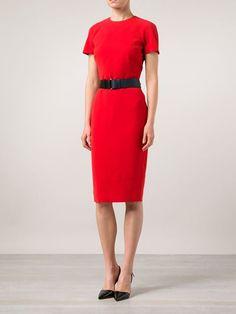 Victoria Beckham Short Sleeve Belted Dress
