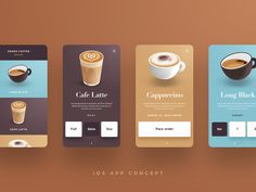 Coffee App Concept by Sacha Jerrems on Dribbble Best Picture For travel App Design For Your Taste You are looking for something, and it is going to tell you exactly what you are looking for, and you d Ui Design Mobile, Design Café, App Ui Design, Menu Design, Interface Design, Layout Design, Flat Design, User Interface, Graphic Design
