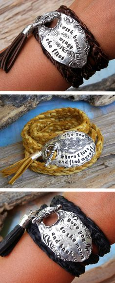 Custom Quote Boho Chic Fashion, Handmade Leather Wrap Bracelet, Silver Jewelry by HappyGoLicky | CLICK & use coupon code PIN10 to save 10% NOW.