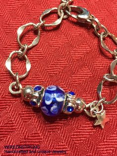 Blue Lampbead and Star Bracelet..Price reduced and additional 10% off ..sale/clearance section on Etsy