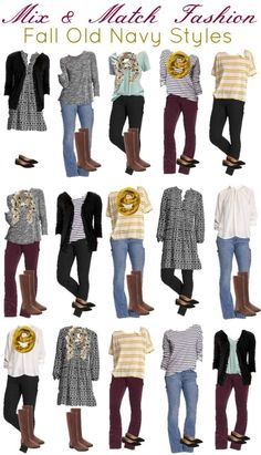 Old Navy Mix and Match wardrobe for fall