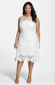 Julia Jordan Floral Lace Sleeveless Sheath Dress (Plus Size) Svatební Šaty 6da81c414d