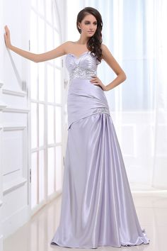 Lavender Elastic Woven Satin Sweep Train A-Line Evening Dress