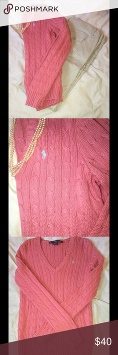 Ralph Lauren sweater Pink Ralph Lauren v-neck cable-knit sweater, great look for the fall, barley worn Ralph Lauren Sweaters