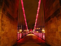 South Portland Street Suspension Bridge, Glasgow.   South Portland Street pedestrian suspension bridge crosses the River Clyde. It links Clyde Street on the north bank to Carlton Place on the south. The bridge opened in 1853, replacing an earlier wooden one.   Photo by Ben Allison
