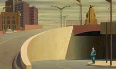 Jeffrey Smart's Cahill Expressway, depicting a solitary man by an empty road underpass Charles Sheeler, Jeffrey Smart, Empty Road, Realistic Paintings, Smart Art, Australian Artists, Urban Landscape, Mid Century Design, Art Techniques