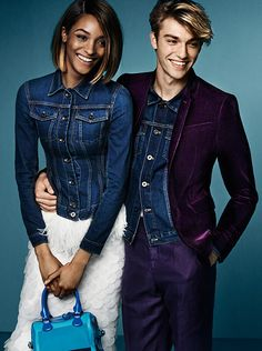 Indigo denim from the runway in the S/S15 campaign starring Jourdan Dunn and George Le Page